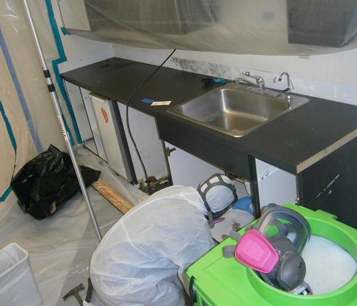 SERVPRO of Mesquite employee performing mold remediation in a commercial kitchen