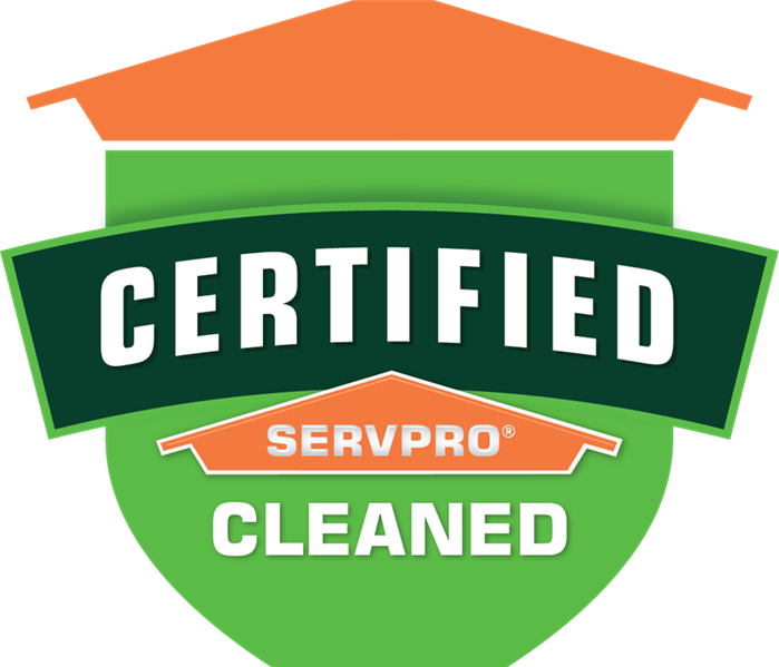 Certified: SERVPRO Cleaned logo, green banner.